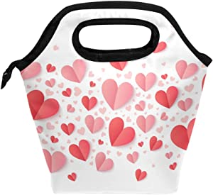 Valentines Day Pink And Red Hearts Lunch Bag Tote Handbag lunchbox Food Container Gourmet Bento Coole Tote Cooler warm Pouch For Travel Picnic School Office