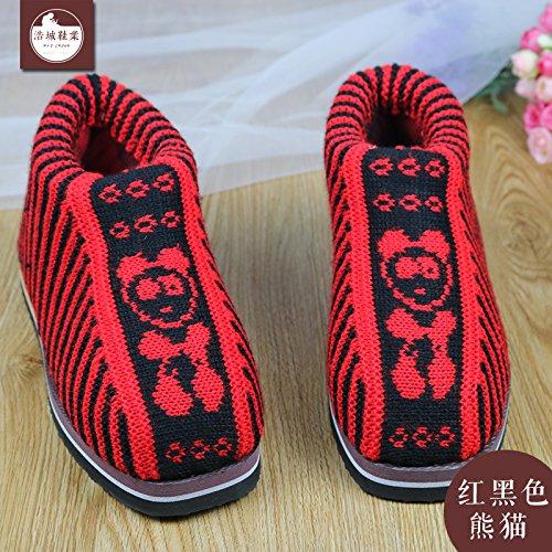 LaxBa Femmes Hommes chauds d'hiver Chaussons peluche antiglisse intérieur Cotton-Padded Slipper chaussures rouge noir (Panda)