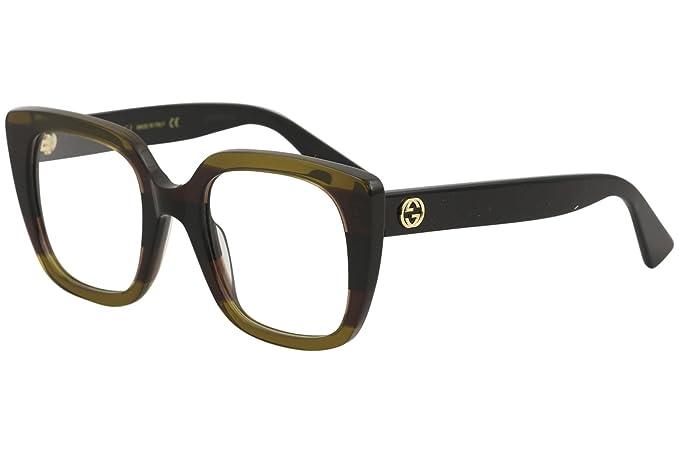 a basso prezzo 2f6ca 961b9 Occhiali da Vista Gucci GG0180O STRIPED DARK BROWN donna ...