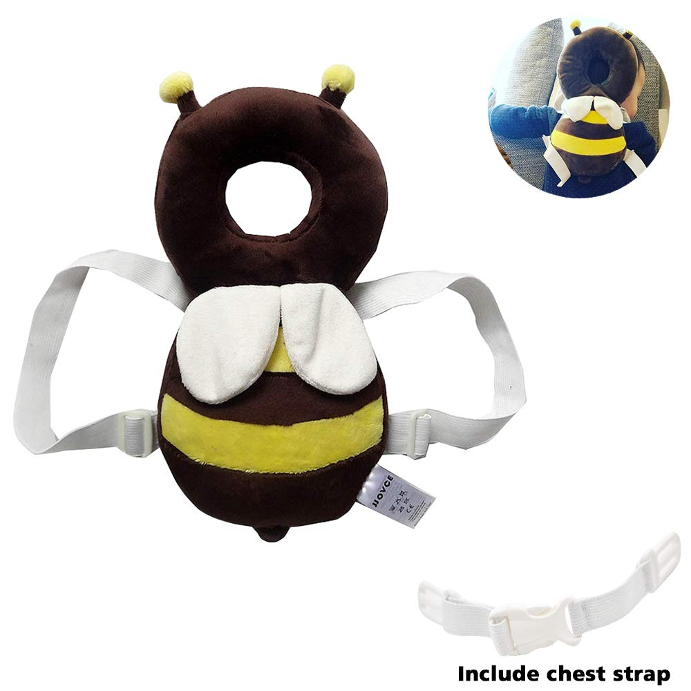 Baby Head Protector Baby Toddlers Head Safety Pad Cushion Baby Back Protection Prevent Toddlers Injured Suitable Age 4-24 Months[ Bee] Doubles