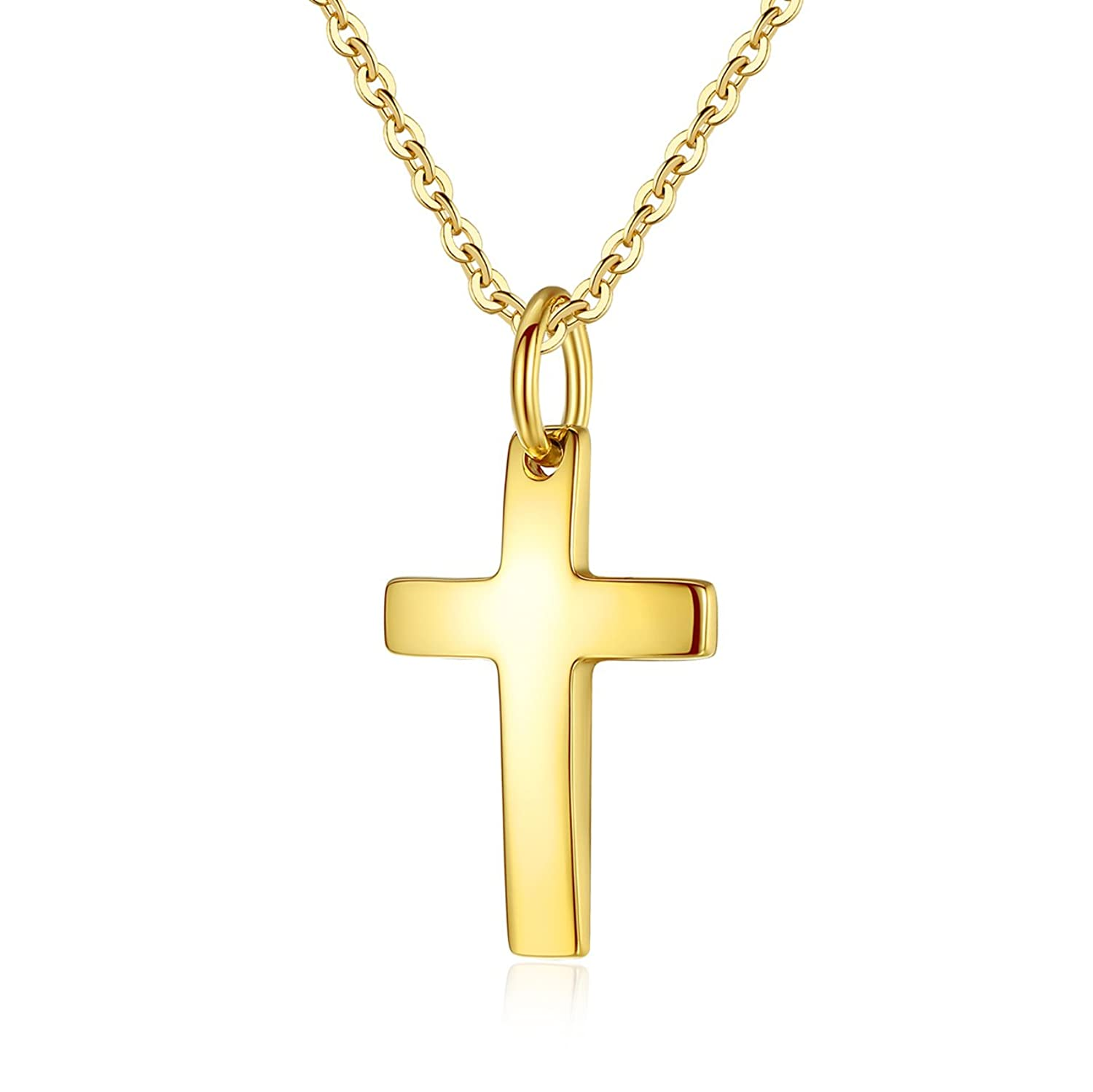 MgTree Simple Stainless Steel Polished Finish Cross Pendant Necklace for Women Men, 20-24 Chain,3 Color