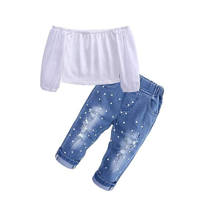 7ae728aa1 Mitlfuny Primavera Verano Camisetas Jeans Conjunto de Ropa Bebé Niña ...