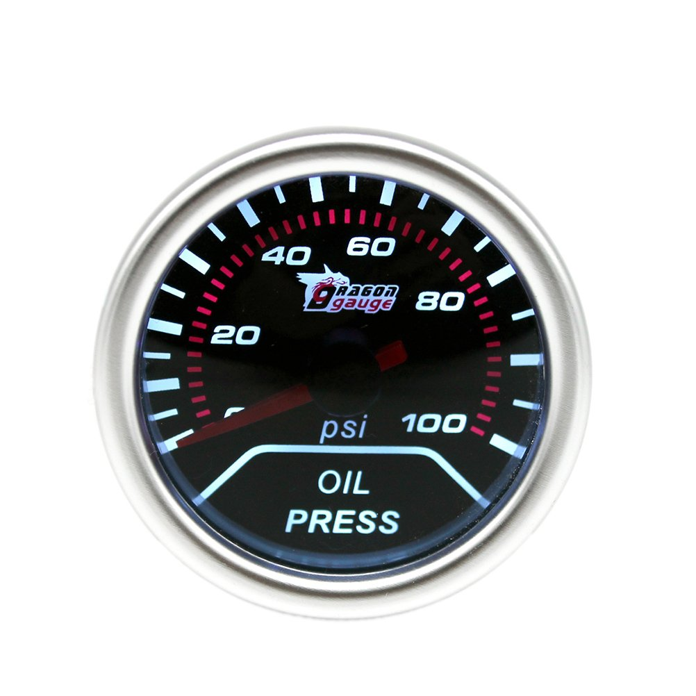 WINOMO Digital Oil Pressure Gauge With Sensor 12V 2 Inch 52mm 0-100 PSI Smoke Lens LED Oil Press Gauge Car Meter K83943C11W94