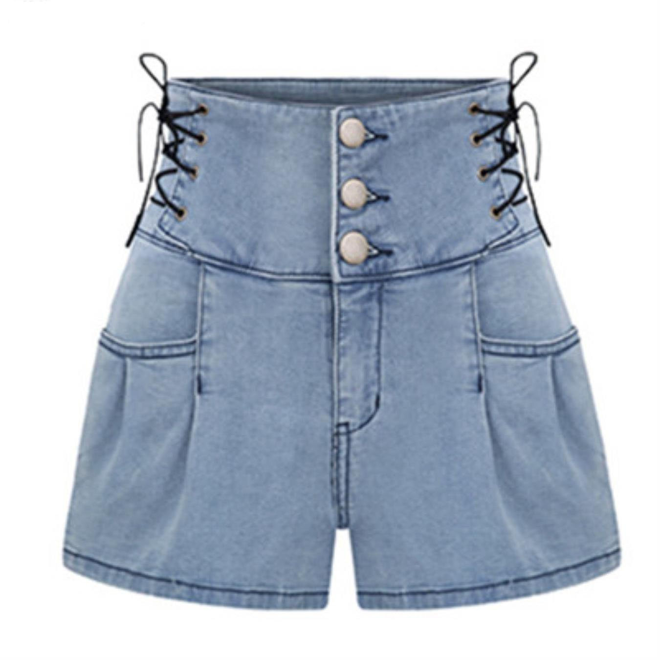 uLovjkjW Womens Retro High Waist Lace up Bandage Slim Fit Denim Shorts