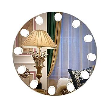 Espejo de baño Iluminado LED Moderno, Redondo, montado en la Pared, Espejos de vanidad con Luces y 12 Bombillas LED para baño Baño 3 tamaños Disponibles: ...