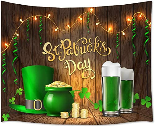 HVEST St.Patrick s Day Tapestry Wall Hanging Shamrock Clover Wall Tapestry Green Irish Leprechaun Hat with Beers on Wooden Plank Tapestry for Bedroom Living Room Dorm Party Decor, 92.5Wx70.9H inches