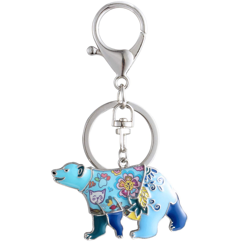 Luckeyui Cute Bear Keychains Gift Women Blue Enamel Animal Polar Bear Keyring