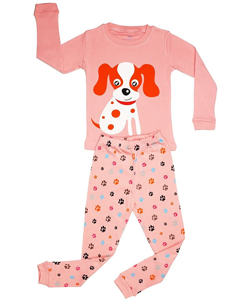 Elowel Girls Dog 2 Piece Kids Childrens Pajama Set 100% Cotton (6M-8Y) Elowel Pajamas dog00