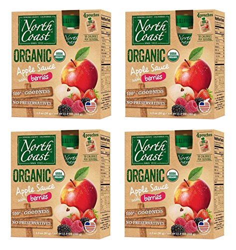 North Coast Organic Apple Sauce with Berries, 4 boxes (4 pouches per box) ()