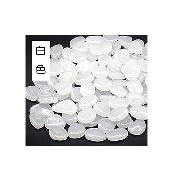 100 Piedras Brillantes para el hogar, pecera, decoración al Aire Libre, jardín, Brillan en la Oscuridad Blanco Blanco Talla única: Amazon.es: Informática