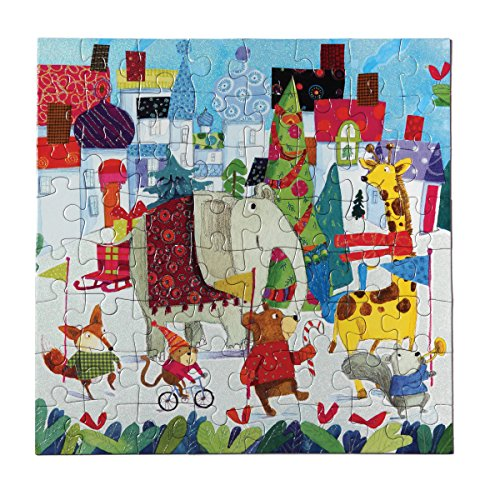 eeBoo Christmas Holiday Parade Glitter Puzzle for Kids, 64 pieces