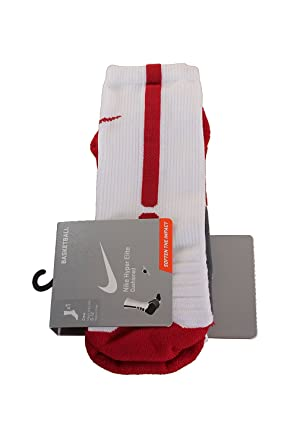 Nike Hyperelite Basketball CRE - Calcetines Unisex, Color Blanco/Rojo, Talla S