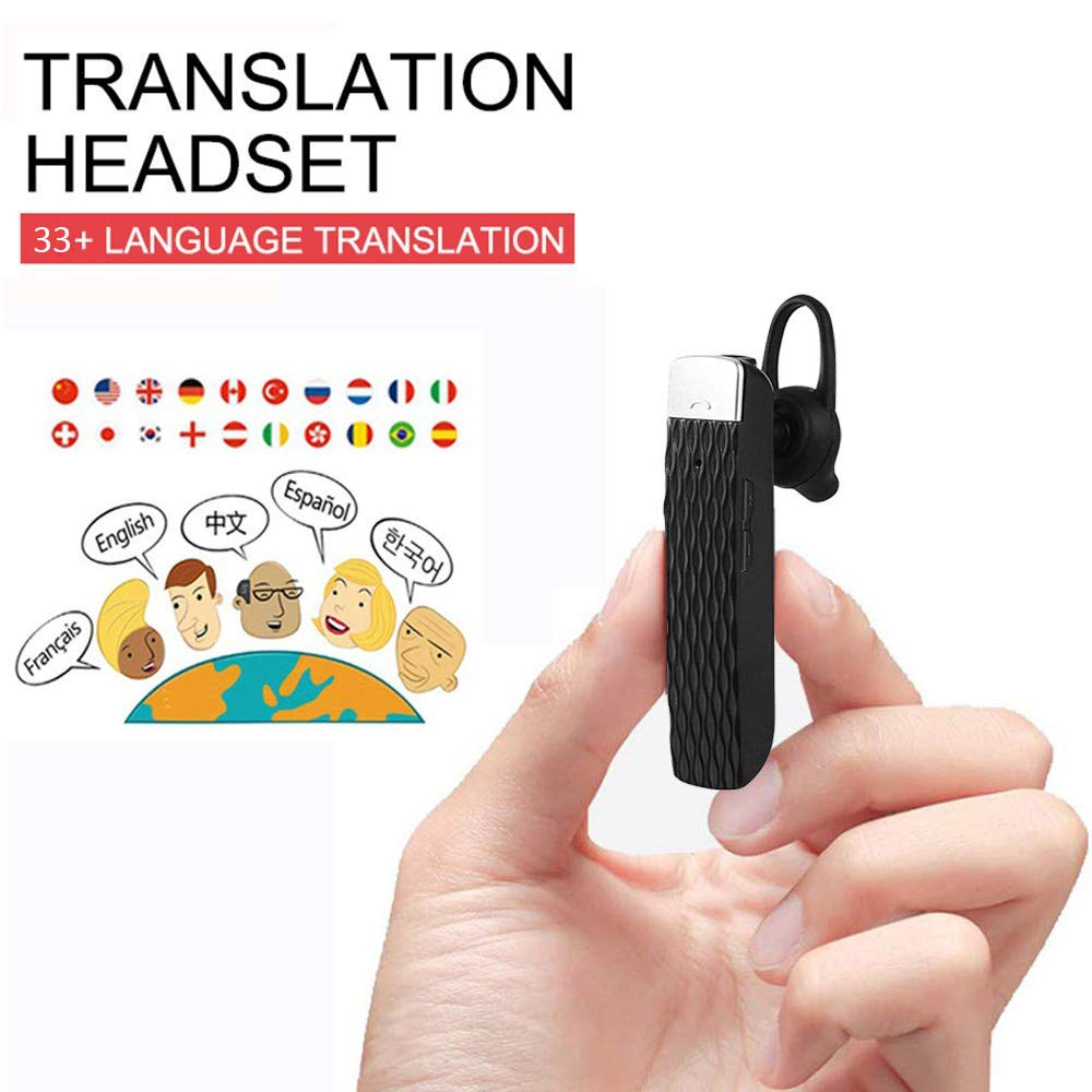 Smart Bluetooth Translator Earbuds Wireless Translation Device Intelligent Headset Instant Portable Translator Suit to Andriod & iOS System Real Time Translator (Black)