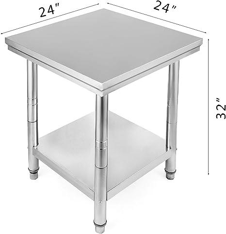 60x60x80cm GIOEVO Piano di Lavoro per Cucina Professionale Acciaio Inox Tavolo da Lavoro da Cucina Piano di Lavoro Inox