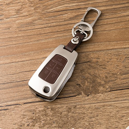 New Brown Zinc alloy 5 Buttons Leather Flip Remote Key Cover Holder Fob Jacket for Chevrolet GMC chevy Camaro Cruze Volt Equinox Spark Malibu Sonic Aveo Camaro Caprice Cheyenne Colorado ()