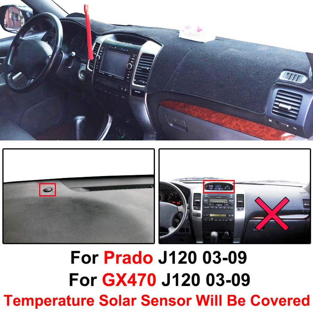 XDDXIAO Dashmat Dash Mat Tablero De Instrumentos Cubierta del Tablero Tablero De Instrumentos Cubierta Alfombra para Toyota Land Cruiser Prado Lexus GX470 J120 2003 2004-2009,Negro