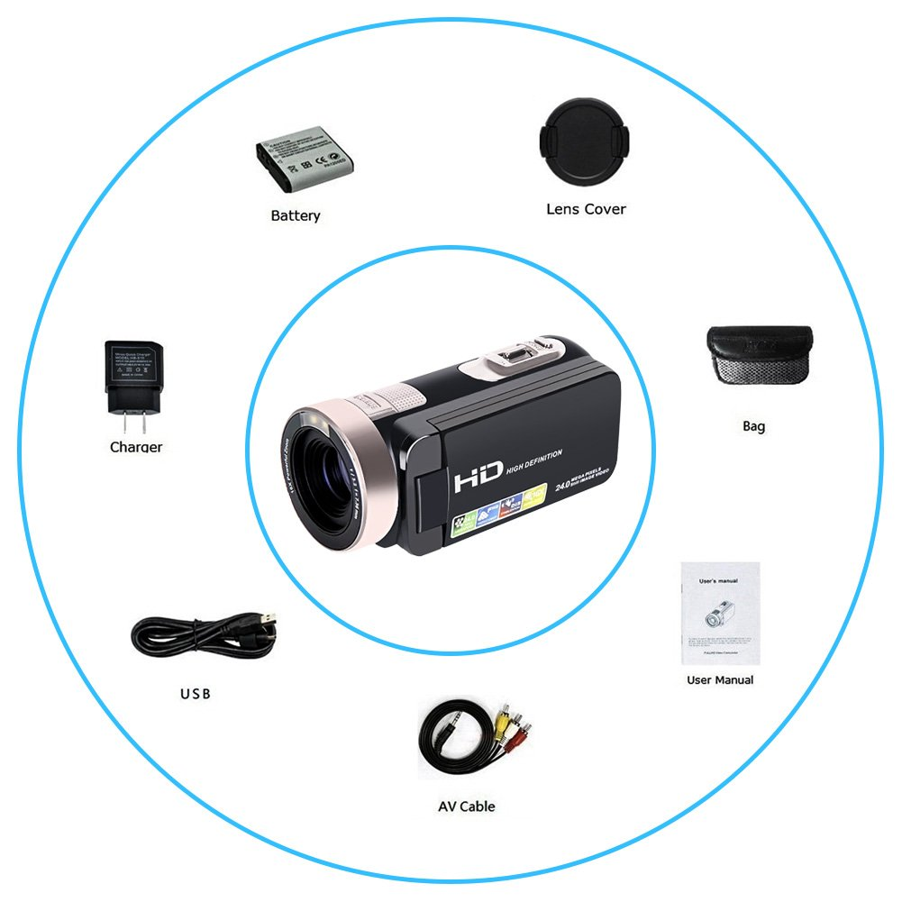 Camcorder Digital video Recorder HD 1080P 24MP 16X Digital Zoom Video Camcorder with 2.7\