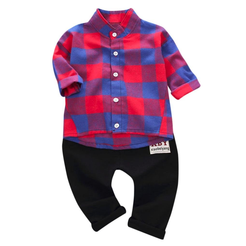 1-4 Years Old,FUNIC 2Pcs Infant Toddler Baby Boys Plaid Print Tops +Pants Outfits Set Funic-Baby