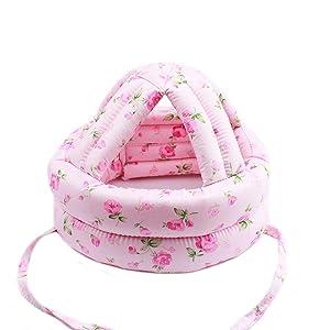 Ewanda store Toddler Infant Baby No Bumps Head Helmet Safety Helmet Children Headguard Head Cushion Bumper Bonnet,M,Pink Rose