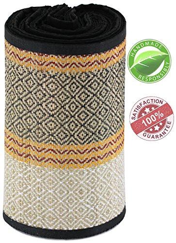 HEAVY DISCOUNT - NATURAL Straw Beach Mat Multipurpose Floor Mat For Home / Yoga / Meditation / Beach / Picnic - Handmade Grass Mat - ECO-FRIENDLY & Folding - 3 - Item Natural