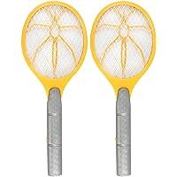 COM-FOUR® 2x Elektronische Fliegenklatsche, Fliegenfänger, Mosquito-Schläger in gelb, 3 V (02 Stück - gelb)