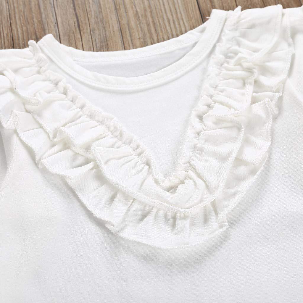 Waymine Kids Baby Girls White Ruffle Long Sleeve Tops+Suspender Skirt Sets 1-6T