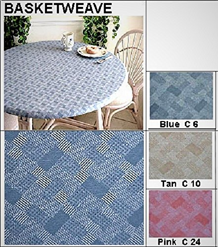 """Elastic Edge Round Fitted Vinyl Tablecloth fit 36"""" to 44"""" Tan Basketweave"""