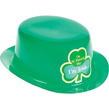 Creative Converting 12 Count St Patricks Day Green Plastic Derby Hats With Stickers