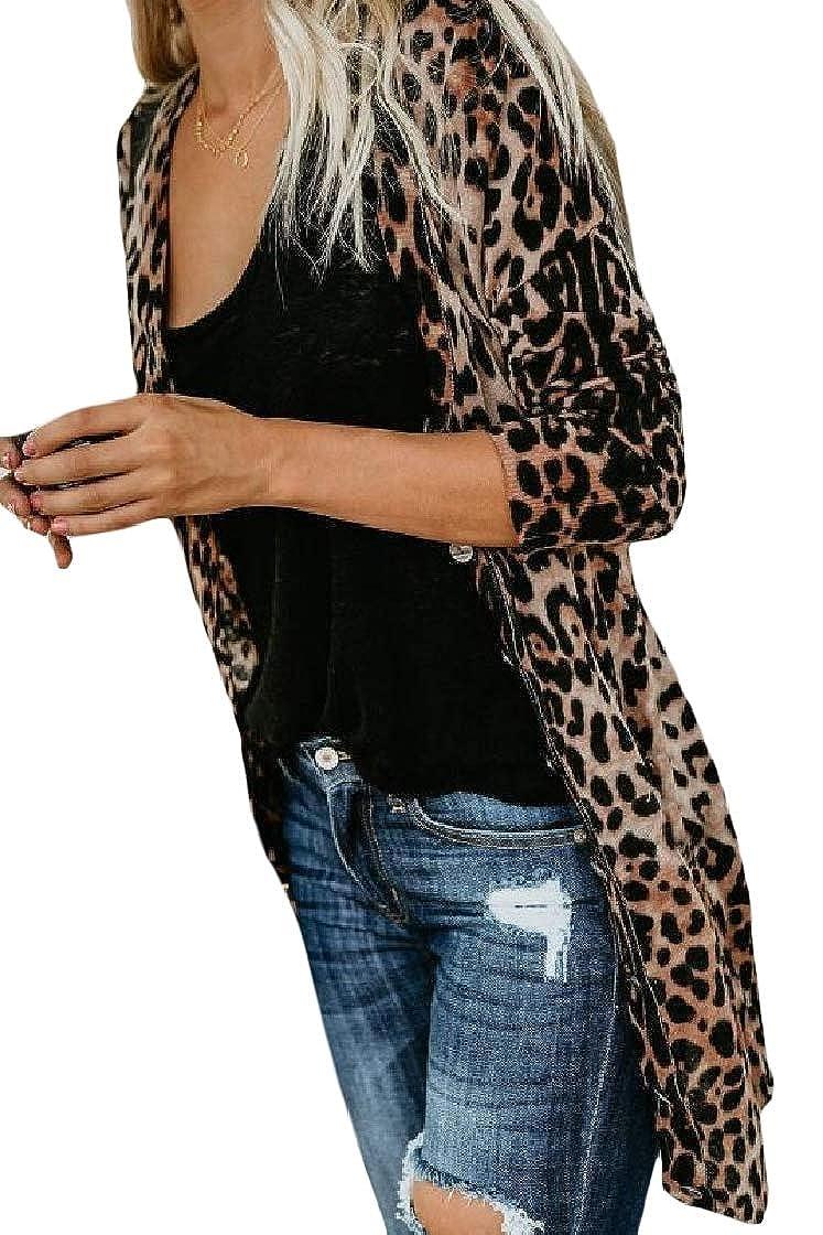 YUNY Womens Long-Sleeve Printing Leopard Mid Long Slim Outwear Jacket Pattern1 M