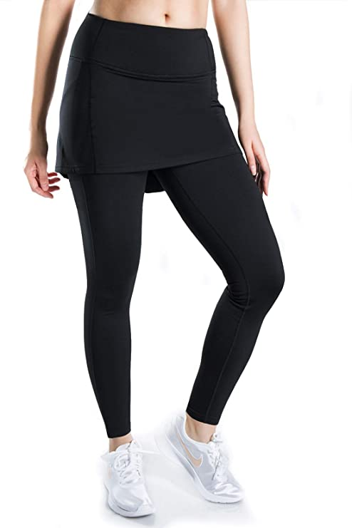 f48db9f971e7 Yogipace Petite Women s 25 quot  Thermal Fleece Compression Running Tights  with Skirt