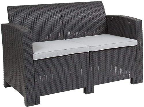 Flash Furniture Dark Gray Faux Rattan Loveseat