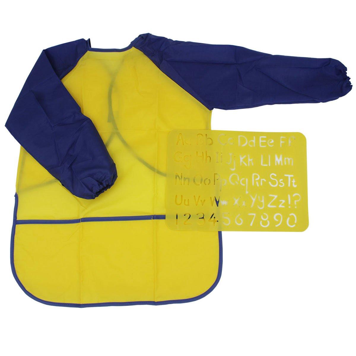 ... Impermeable Mangas Largas 3 Espaciosos bolsillos y letras de plástico Número Stencils Craft (edades 3-6) para aula de la escuela Casa y Cocina (Ama: ...