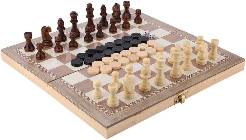 WYWY Ajedrez Madera 3 en 1 Ajedrez Backgammon Damas Interiores o Exteriores de Juegos Viaje Juego de ajedrez Tablero de Damas Entretenimiento