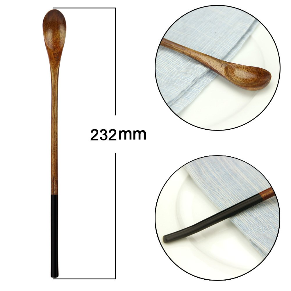 Wooden Iced Tea Spoons, AOOSY 9.13 inches 10 Pieces 100% Natural Wood Long Handle Drink Spoons Cocktail Stirrer Swizzle Sticks by AOOSY (Image #6)