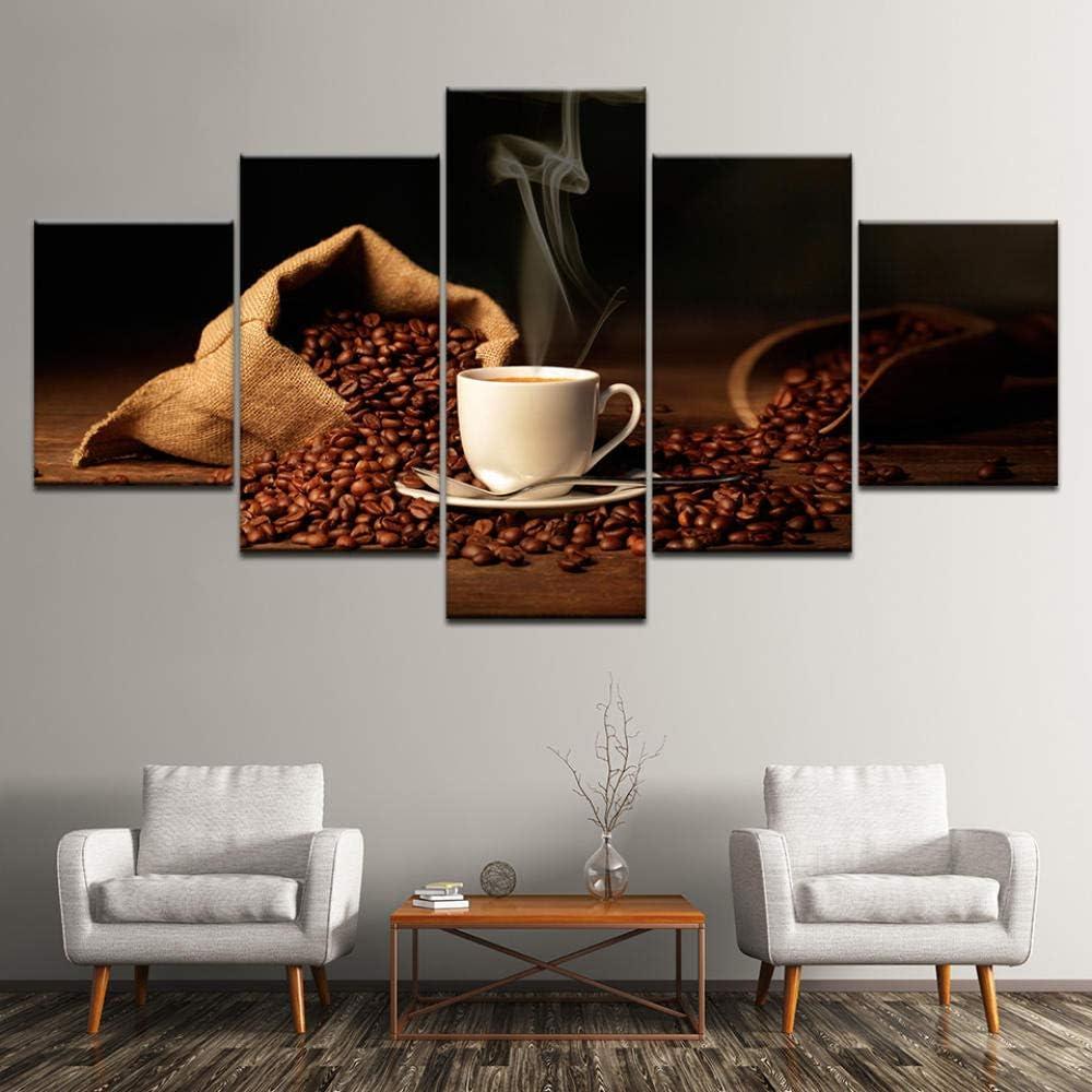 Lucellgh 5 Pannelli Quadro su Tela caff/è Immagini Art for Walls Decorativi per La Casa Canvas 5 Pz,Frameless 200Cmx100Cm