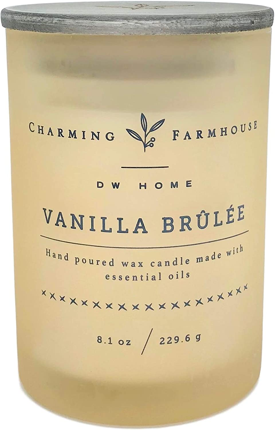 DW Home Charming Farmhouse Vanilla Brulee Scented Candle Wooden Wick