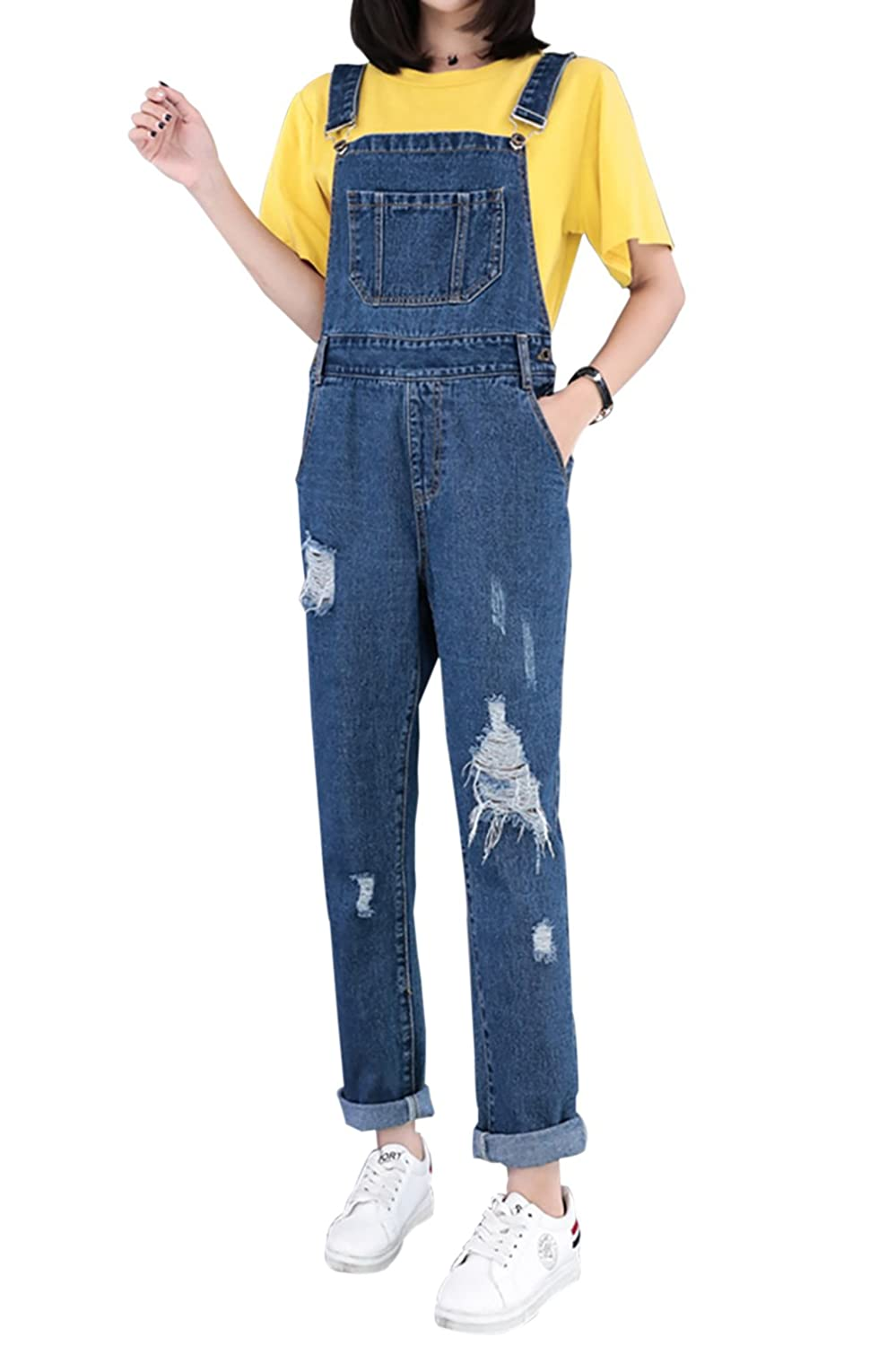 Yimoon Womens Stylish Loose Ripped Denim Overalls Jeans Pants