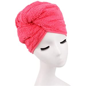 Moolecole Fashion Absorbent Microfiber Hair Dry Towel Thickened Shower Cap Hair Turban Quick Dry Hat Cap Watermelon Red