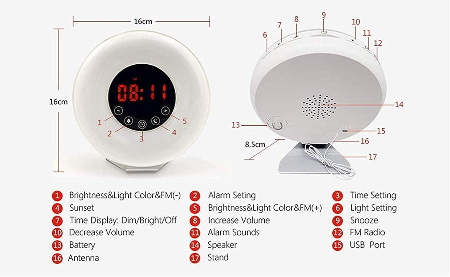 Wake Up Light//Sunrise Alarm Clock Upgraded Table Bedside Lamp Night Light with FM Radio 7 Colors LED Display Touch Control Function Nature Sounds for Heavy Sleeper Kids Bedroom Gift
