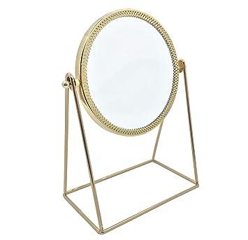 Amazon Com Makeup Mirror Vanity Mirror Vintage 360 Rotation Metal Cosmetic Mirror Round Beauty Mirror Handmade Make Up Mirror For Dresser Vanity Table Desktop Bathroom Bedroom Circular Champagne Gold Beauty