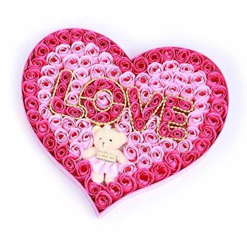 ฺBouquet Valentine day Gifts New Year Flower Rose leaning Bath Rose Flower with lovely teddy bear Petals Soap flower100pcs/box Creative Gifts with Bear four color By Gangnumsky