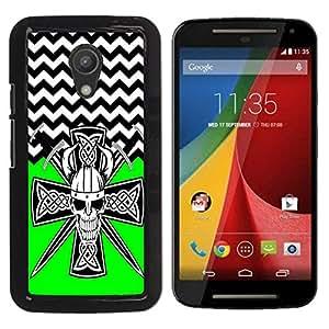 - Devil Cross Chevron Pattern - - Fashion Dream Catcher Design Hard Plastic Protective Case Cover FOR Motorola G 2ND GEN II Retro Candy