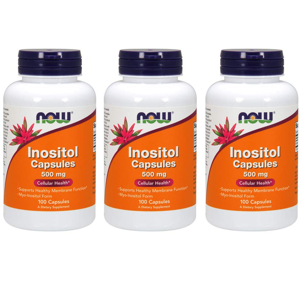 NOW  Inositol 500mg,100 Capsules (Pack of 3)