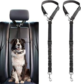Mkouo Cinturón de seguridad para perros, paquete de 2 cinturones ...
