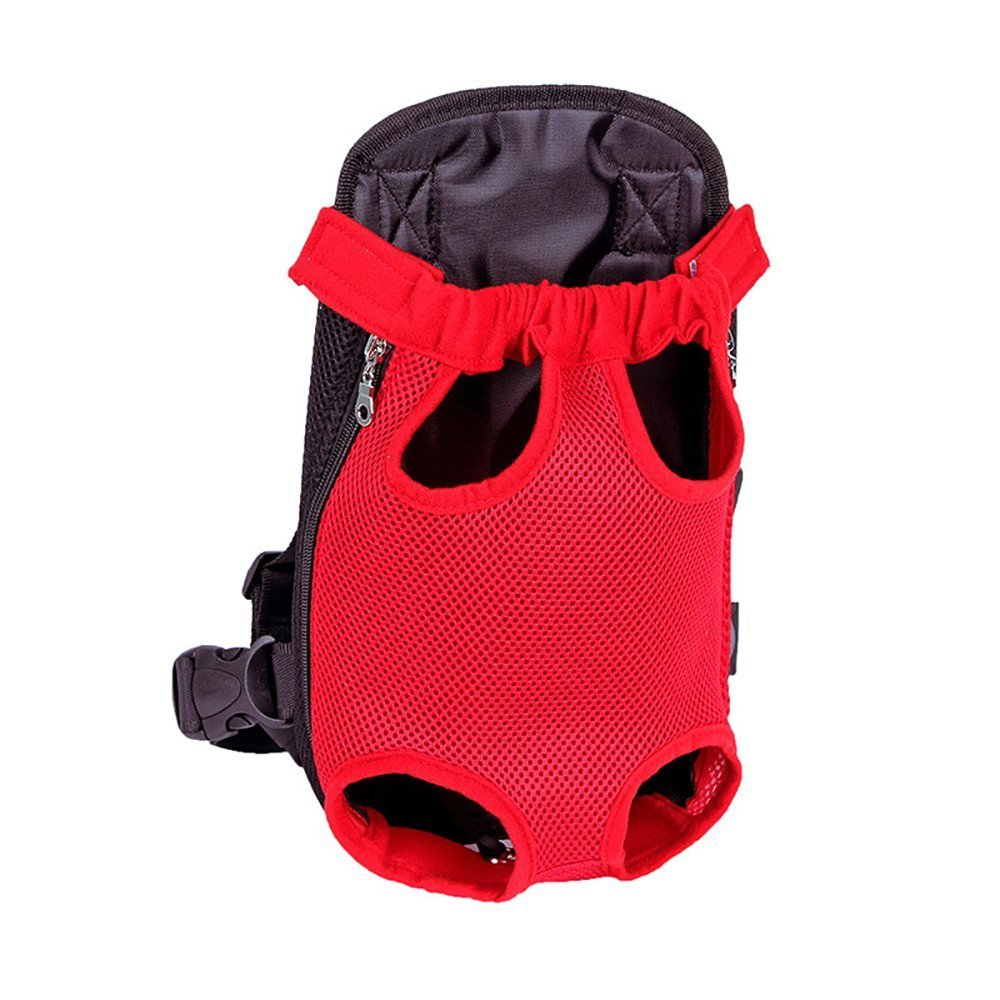 Legs Out Front Kangaroo Pouch Pet Dog Carrier,Chest Backpack Puppy Tote Holder Bag for Walking Travel Hiking Camping Large, Red