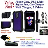 Value Pack + for 5.7'' LG Stylo 3 K10 PRO Stylus 3 + PLUS Case Crystal Belt Holster Phone Case 360° Cover Screen Protector Armor Shock Bumper (Purple)