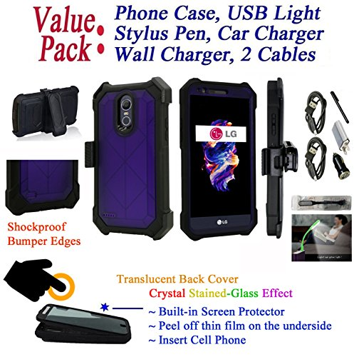 Value Pack + for 5.7'' LG Stylo 3 K10 PRO Stylus 3 + PLUS Case Crystal Belt Holster Phone Case 360° Cover Screen Protector Armor Shock Bumper (Purple) by 6goodeals