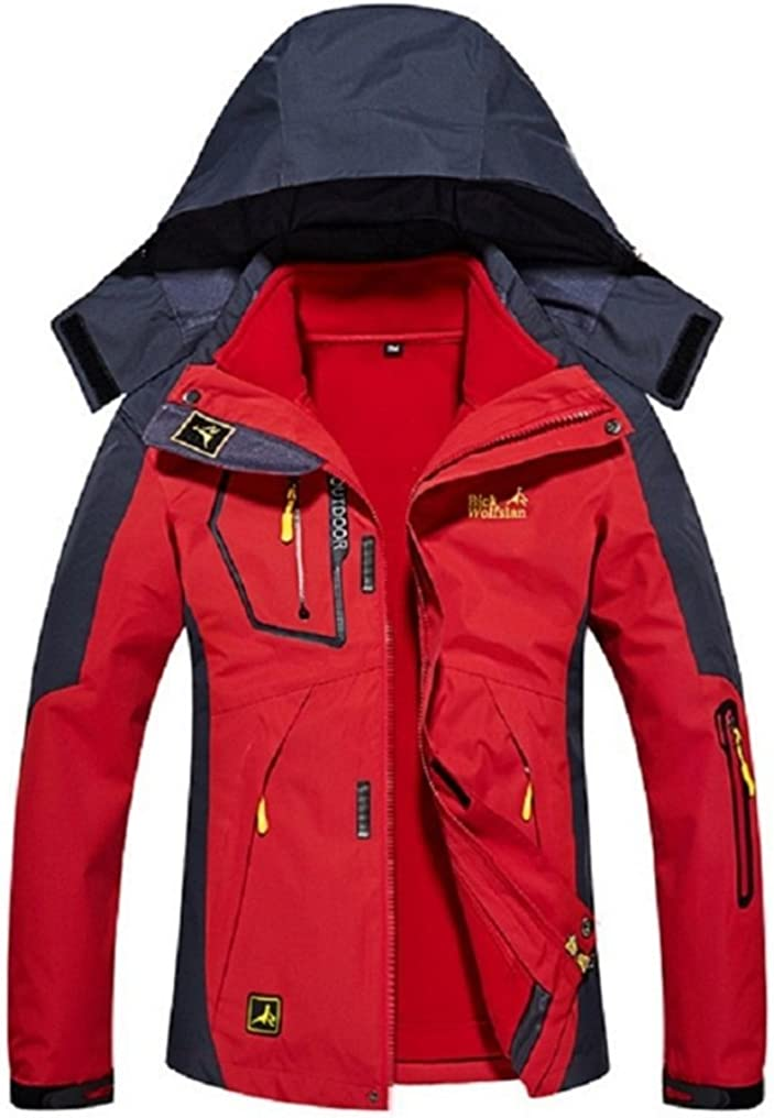 Ausom Three-in-one Couple Unisex Detachable Two-piece Plus-size Mountaineering Jacket