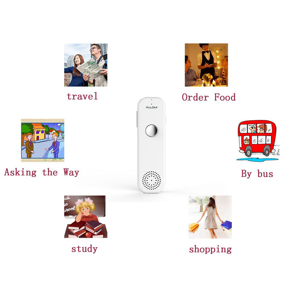 TT Easy Trans Smart Language Translator Device Electronic Pocket Voice Bluetooth 52 Languages for Learning Travel Shopping Business White Red