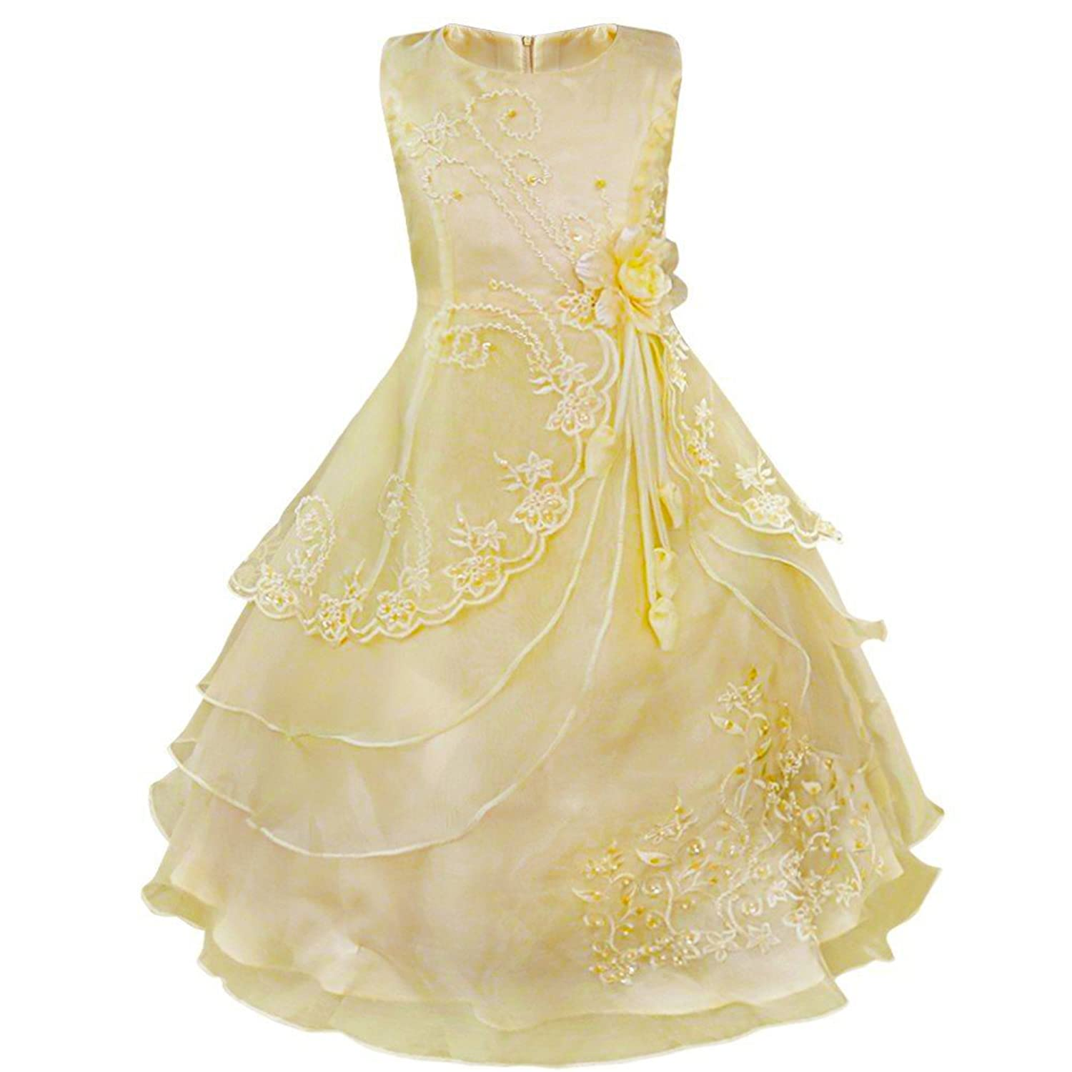 """Rita"" Girls Layered Hooped Embroidered Dress - Gold 4-5yrs"